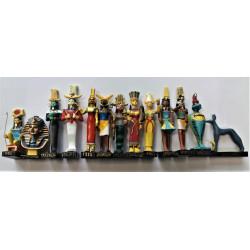 "Ancient Egypt Egyptian God set of 13 magazines with figurines resin statue size 5"" high (Apademak, Anat, Monthou, Nefertoum, Tatenen, Anouket, Heh, Sokaris, Khnoum, Isis, Tutanchamon, Oupouaout, Ouadiet))"
