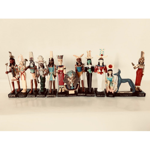 "Ancient Egypt Egyptian God set of 13 magazines with figurines resin statue size 5"" high (Khnoum, Apademar, Gueb, Osiris, Tatenen, Heh, Anat, Tutenchamon, Isis, Oupouaout, Sokaris, Nefertoum, Monthou)"