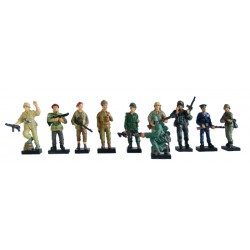 "Soldier 10 Figurines Set Resin Statue Size 4"" High"